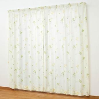 カーテン 安い おしゃれ レースカーテン UVカット 遮像ボイルカーテン リーフ 約100×108 2枚
