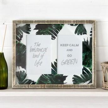 写真立て フォトフレーム ボタニカル柄 壁掛け リーフ モチーフ 写真 2枚 木枠 木製 ガラス 西海岸 男前