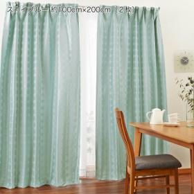 カーテン カーテン サークル柄の遮光 遮熱 防炎 形状記憶カーテン スカイブルー 約100×150 2枚