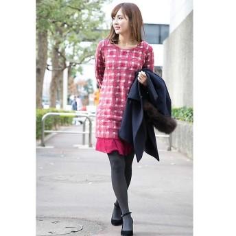PROPORTION BODY DRESSING / プロポーションボディドレッシング モヘアチェック裾シフォンワンピース