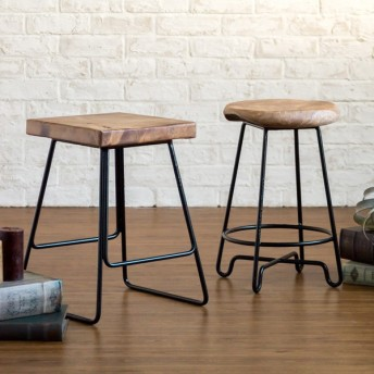 スツール 椅子 木製 おしゃれ 玄関スツール カウンターチェア アイアンフレーム アンティーク 無垢材 天然木 北欧 西海岸 男前