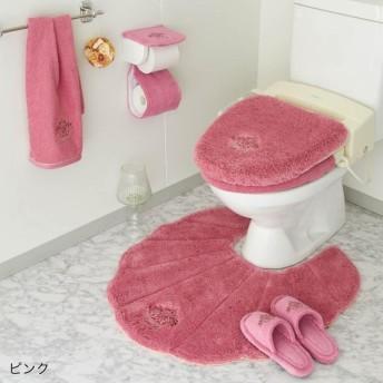 トイレマット リュクスなフタカバー トイレ小物 タオル 単品 ピンク