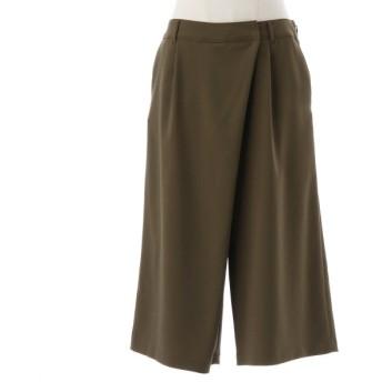 パンツ レディース クロップドパンツ 二重織りスカート風ガウチョパンツ72〜80 モカ