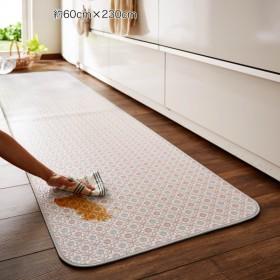 キッチンマット ベルメゾン 拭けるキッチンマット 花柄 パープル 約60×180
