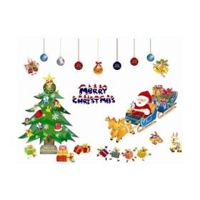 ウォールステッカー クリスマスツリー サンタクロース ソリ 壁シール トナカイ メリークリスマス 装飾 送料無料
