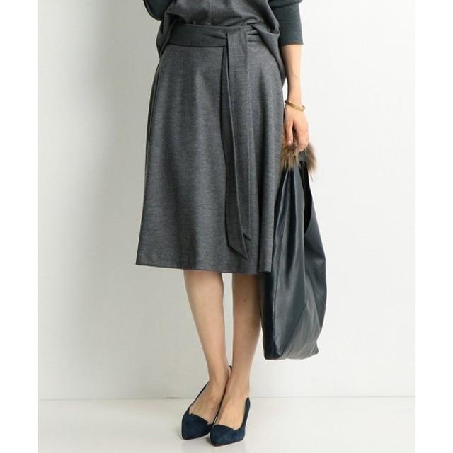 J.PRESS / ジェイプレス ウールスムースジャージー ベルト付きフレアスカート