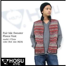 ホス Hosu フェア アイル セーター フリース ベスト(HOSU Fair Isle Sweater Fleece Vest)