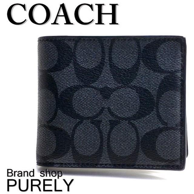 全品ポイント2倍 コーチ COACH 財布 メンズ シグネチャー コンパクト ID ウォレット 折り財布 F74993 CQ/BK チャコール×ブラック (小銭入れなし)