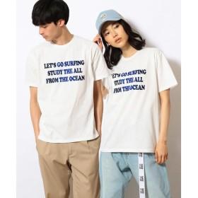 Purple&Yellow / パープルアンドイエロー グラデーションフロッキー メッセージプリントTシャツ