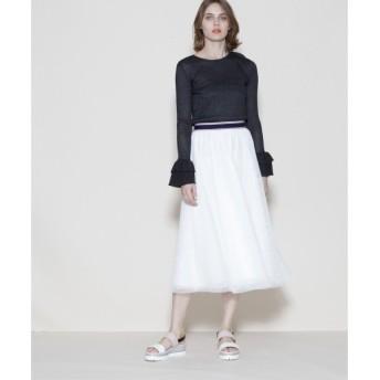 GRACE CONTINENTAL / グレースコンチネンタル チュールラインリブスカート