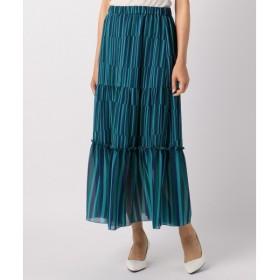 組曲 セーリングヨウリュウプリント ロングスカート 裾フリル ウエストゴム
