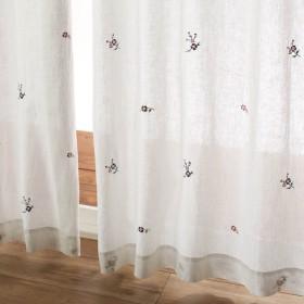 カーテン 安い おしゃれ レースカーテン ベルメゾン フレンチリネン薄地カーテン 刺繍 約100×88 2枚