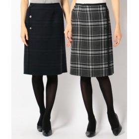 J.PRESS / ジェイプレス 【無地×チェック・リバーシブル】エアーファインリバーメルトン スカート