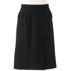 スカート レディース ロング 麻調グログラン素材のWボタンスカート72〜84 クロ