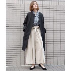 NIMES / ニーム 綿麻デニム&ストライプ ラップ風パンツ
