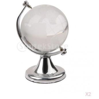 ノーブランド品 セール/お買い得 2個セット 銀色 地球儀 スタンド クリスタル/水晶 地球儀 結婚式のギフト
