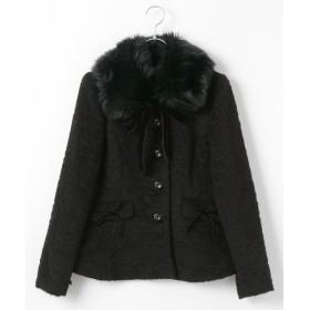 PINK HOUSE / ピンクハウス ファー衿付きロージーシャギージャケット