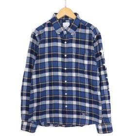 【中古】ユニフォームエクスペリメント uniform experiment UE シャツ ネルシャツ FIVE STAR FLANNEL CHECK B.D SHIRT チェック フランネル ファイブスター 2 青