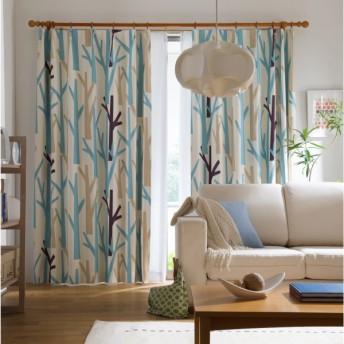 カーテン カーテン 北欧柄の遮光遮熱カーテン IN−FA−LA ブルーツリー 約100×110 2枚