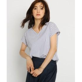 INDIVI / インディヴィ 【WEB限定】Vネックギンガムチェックシャツ