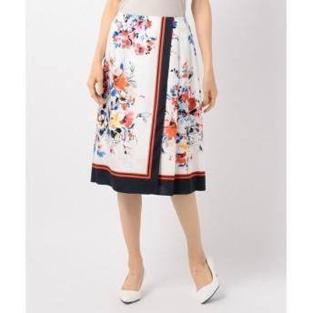 組曲 / クミキョク 【洗える】フルールスカーフパネルプリント スカート