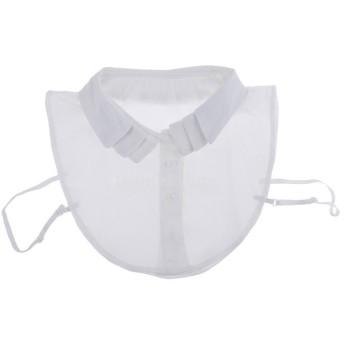 取り外し可能 女性 偽の襟 人工襟 ブラウス 刺繍 シフォン 全2色 - 白