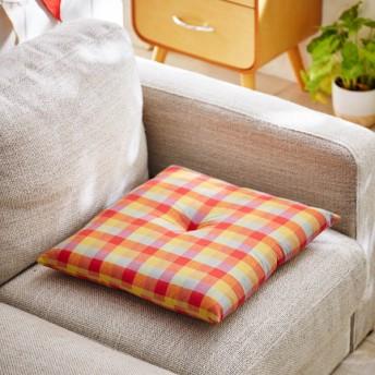 クッション おしゃれ 綿100%先染めチェック柄の小座布団 夕映え オレンジ 約40cm×40cm