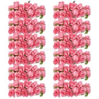 ノーブランド品ローズ バラ 造花 花部分のみ 花びら 花ヘッド 結婚式 紙製 約144個 全3色 (ピンク)