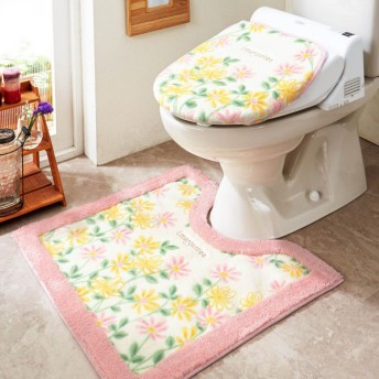 トイレマット 花柄 抗菌 防臭 洗える すべりにくい おしゃれ ピンク 標準マットのみ
