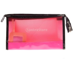 GRALARAPUレザー製 旅行 化粧品 トイレタリー バッグ ジッパー 4色選べる - レッド