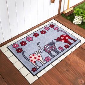 玄関マット おしゃれ マット 猫のパレード柄の泥落とし屋外玄関マット 約50×75cm