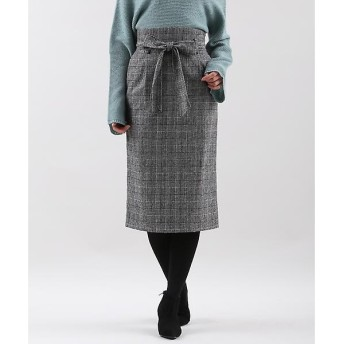 CLEAR IMPRESSION / クリアインプレッション グレンチェックリボンベルト付きタイトスカート