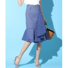 Viaggio Blu / ビアッジョブルー 【WEB別注】ギンガムチェックオーガンジーマーメイドスカート