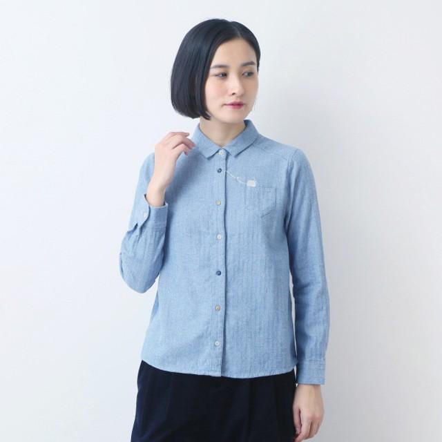 毛糸モチーフ刺繍起毛シャツ綿100%