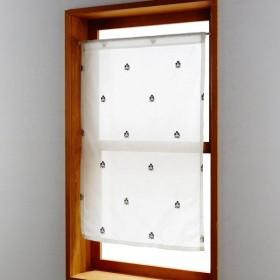 ボイルカーテン 小窓 カーテン UVカット ボイル 洗える 日本製 リビング 寝室 子供部屋 のれん 窓 出窓 キッチン おしゃれ フラワー 約60×50(1枚)