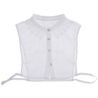 レディース 偽の襟 取り外し可能 人工襟 ブラウス シフォン 花柄 刺繍 全2色 - 白
