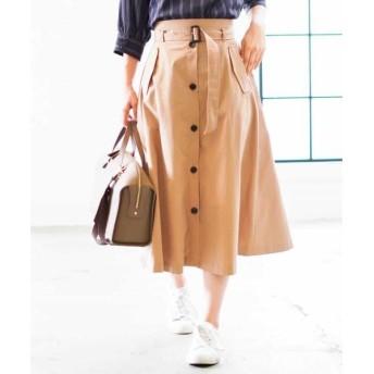 MK MICHEL KLEIN / エムケーミッシェルクラン 【洗濯機で洗える】フロント釦スカート