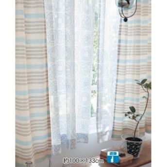 カーテン 安い おしゃれ レースカーテン 綿混素材の遮像ボイルカーテン 約100×108 2枚 約100×198 2枚