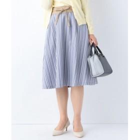 L size ONWARD(大きいサイズ) / エルサイズオンワード 【サッシュベルト付】ストライプフレア スカート