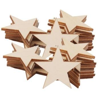 50個入り DIY クラフト 素材 3mm厚 星型 スター型 木製 木片 外径50mm