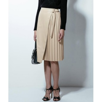 Viaggio Blu / ビアッジョブルー フェイクレザーラップ風プリーツスカート