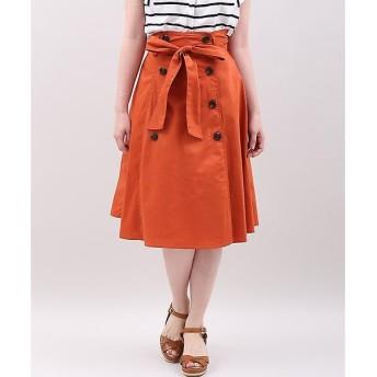 CLEAR IMPRESSION / クリアインプレッション リボンベルト付きトレンチフレアスカート