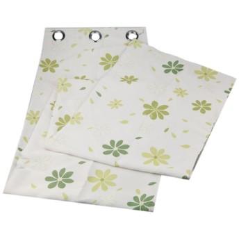 100x250cm 葉パタン ドレープカーテン 遮光カーテン 断熱 夜も透けにくい 取付穴付き 全4色 - グリーン