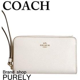 全品ポイント5倍 コーチ COACH 財布 レディース レザー ダブル ジップ フォン ウォレット 折り財布 F58053 IMCHK チョーク