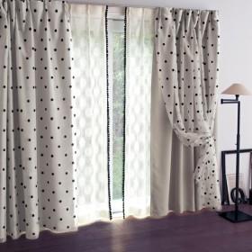 カーテン カーテン ベルメゾン ドット柄の二重遮光カーテン 約100×90 2枚 約100×110 2枚