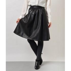 SHIPS for women / シップスウィメン フェイクレザー ギャザースカート