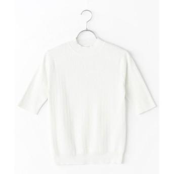 Harriss / ハリス コットンハイゲージリブストライプハイネック5分袖セーター