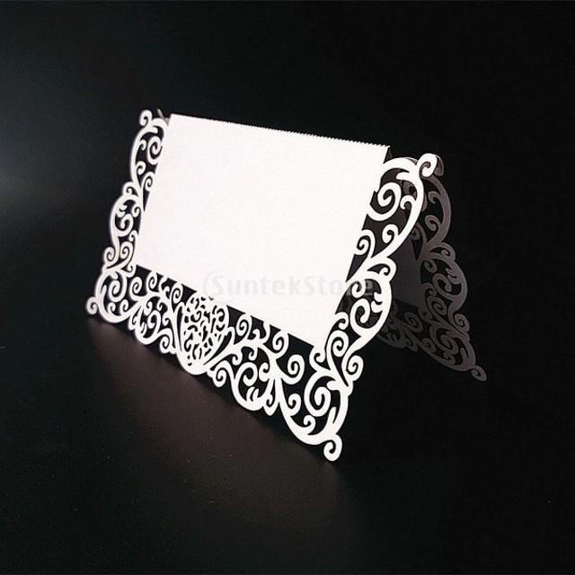 ノーブランド品 25枚 結婚式 ウェディング用 紙製 席札 ネームプレート カード (ホワイト)