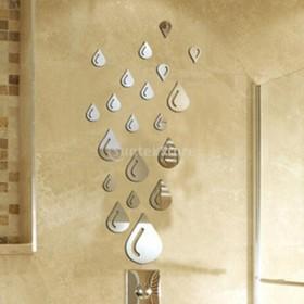 ノーブランド品ウォールステッカー 鏡効果 ミラー効果 鏡になる 剥がせる 21枚 雨滴