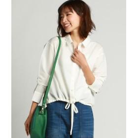MAYSON GREY / メイソングレイ 裾ギャザーリボンクロップドシャツ